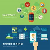 concepts for smart watch and internet of things flat design poster