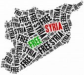 Free Syria. Word cloud illustration related to syrian civil war. poster