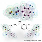 Adrenalin molecule structure. Three dimensional model render poster