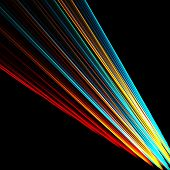 colorful beam of light on black background poster