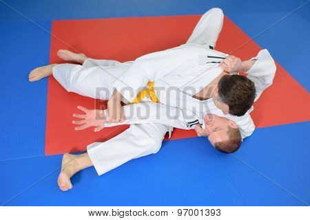 Two fighter on the mat
