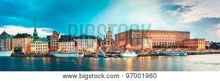 Embankment In Old Part Of Stockholm At Summer Evening, Sweden poster