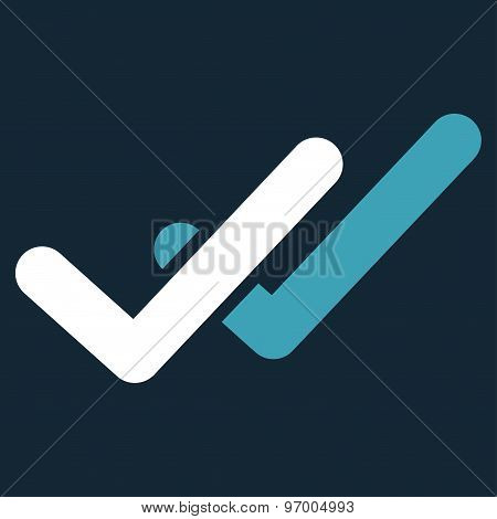 Validation icon from Business Bicolor Set. This flat raster symbol uses blue and white colors, rounded angles, and isolated on a dark blue background. poster