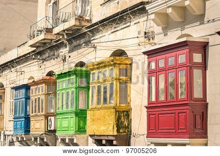 Vintage View Of Typical Buildings Balconies In La Valletta  - Colorful Travel In Malta On The Road