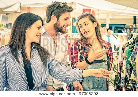 Young Tourists At The Weekly Cloth Market - Best Friends Sharing Free Time On The Weekend Having Fun