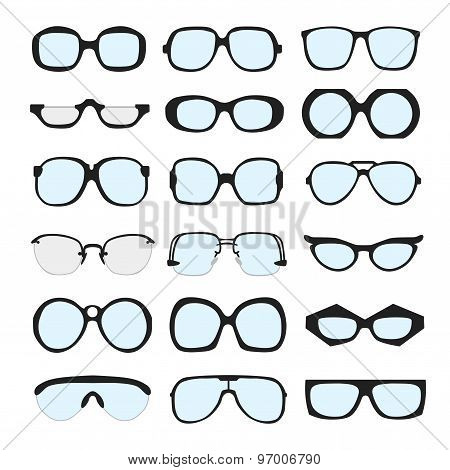 Vector set of different glasses with lenses on white background