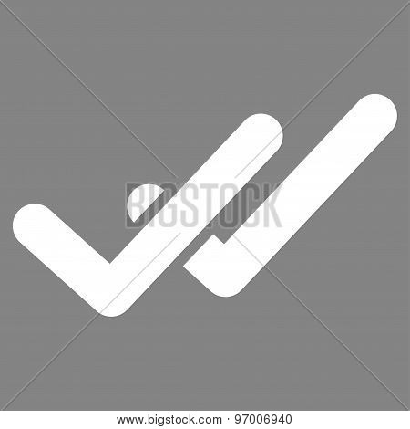 Validation icon from Business Bicolor Set. This flat raster symbol uses white color, rounded angles, and isolated on a gray background. poster