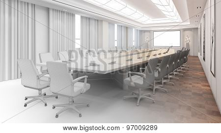 CAD planning of big modern conference room from blueprint to 3D Rendering