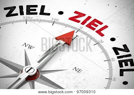 Compass pointing to the German word