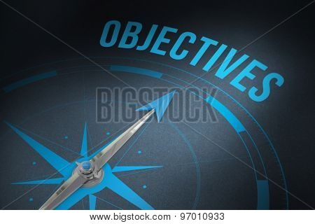 The word objectives and compass against grey