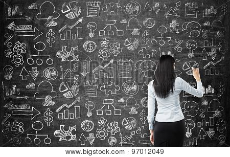 Rear View Of The Business Lady Who Is Drawing Business Icons On The Chalkboard As A Wall.