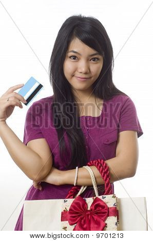 Girl Going Shopping And Showing Credit Card