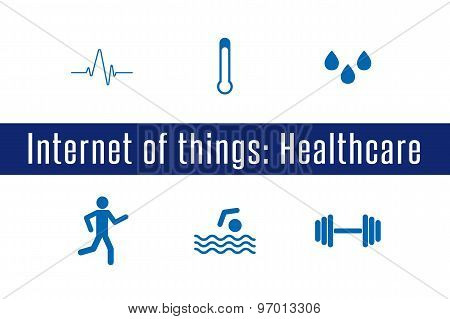 Internet of Things, IoT - Healthcare. Set of 6 flat icons. Vector llustration. poster