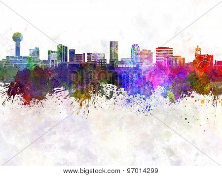 Knoxville Skyline In Watercolor Background