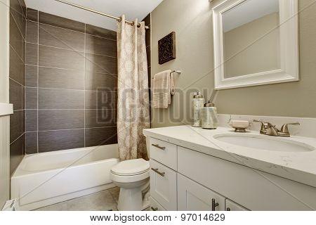 Simplistic Bathroom Wth Grey And White Theme.