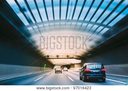 Speeding Cars Inside A Highway Urban Tunnel, Motion Blur.