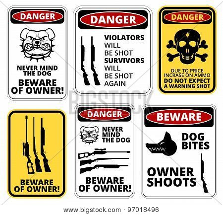 Owner shoots - humorous comic danger sign. Vector EPS8 poster