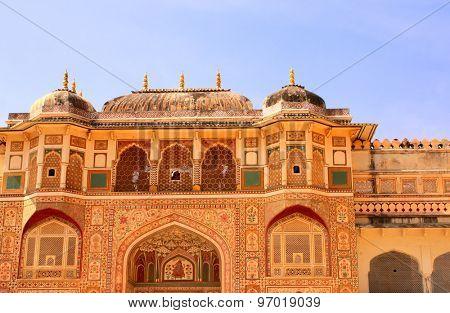 Entrance in royal palace, Amber Fort near Jaipur, Rajasthan, India