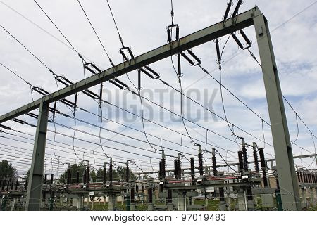 high voltage substation transformer station electric Strom