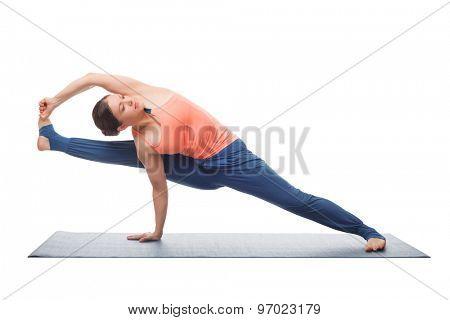 Beautiful sporty fit yogini woman practices yoga asana visvamitrasana - complex advance arm balance pose dedicated to sage Vishvamitra isolated on white poster