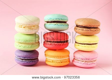 French Colorful Macarons On Pink Background