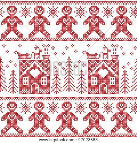 Scandinavian Nordic Christmas  seamless pattern with gingerbread man , stars, snowflakes, ginger