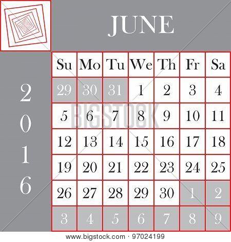 Square Format 2016 Calendar June