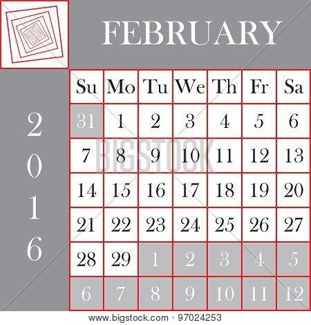 Square Format 2016 Calendar February