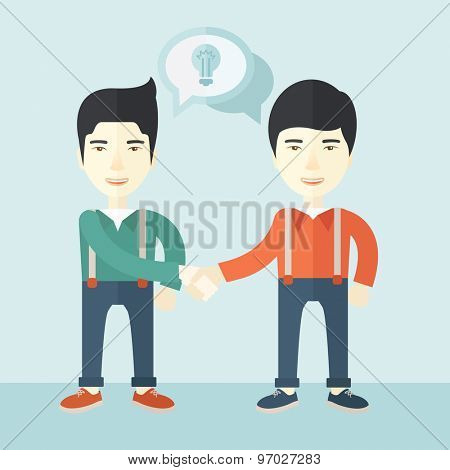 A two asian guys standing facing each other handshaking for the successful business deal. Business partnership concept. A Contemporary style with pastel palette, soft blue tinted background. Vector