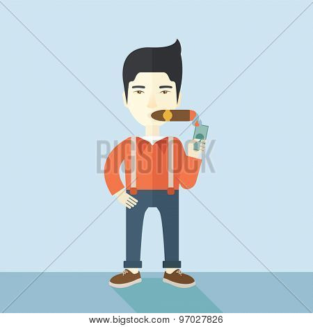 A smiling asian businessman lighting the cigar tobacco to release pressure from work. Successful business concept.  A Contemporary style with pastel palette, soft blue tinted background. Vector flat poster