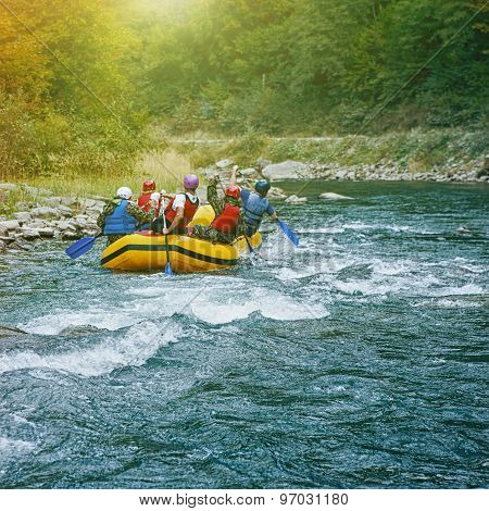 Rafting on the river. Carpathian mountains and sport team