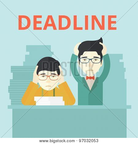 A two aisan employees is burnout  having a problem meeting the deadline, so many paper works to attend to. A Contemporary style with pastel palette, soft blue tinted background. Vector flat design