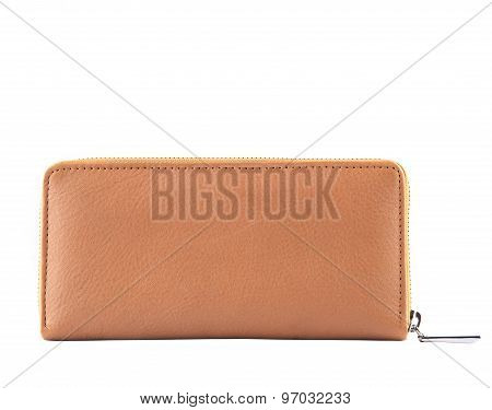 Close Up Brown Leather Of Luxury Lady  Clutch Bag Isolated White Background