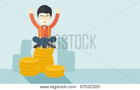 A proud asian businessman sitting on a pile of dollar coins. Successful concept. A contemporary style with pastel palette soft blue tinted background. Vector flat design illustration. Horizontal