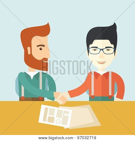 A white american and chinese businessmen handshaking and  having a business meeting with a contract to be sign. Business partnership concept. A contemporary style with pastel palette soft blue tinted