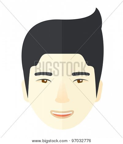 A face of a happy and good looking chinese guy with his hairstyle. A Contemporary style. Vector flat design illustration isolated white background. Square layout