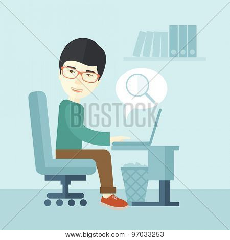 A chinese man sitting in front of the computer with magnifying glass looking for a job online. A contemporary style with pastel palette soft blue tinted background. Vector flat design illustration