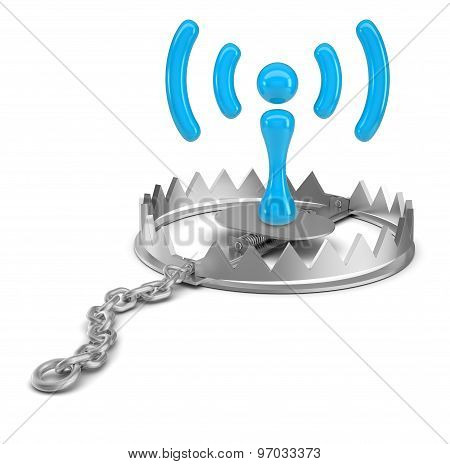 Wi-fi  icon in bear trap on isolated white background, close-up view poster