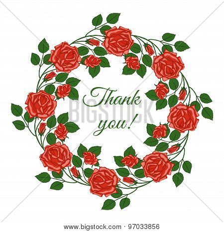 Card With Words Of Gratitude In Floral Frame.