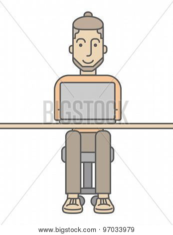 A Hard working caucasian business man with his laptop searching something. A Contemporary style. Vector flat design illustration isolated white background. Vertical layout
