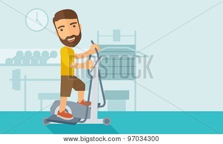 A happy caucasian in gym sport workout exercises. Contemporary style with pastel palette, soft blue tinted background. Vector flat design illustrations. Horizontal layout with text space in right side