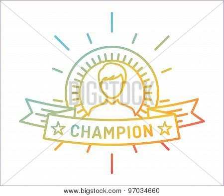 Vector linear medal logo template. Abstract human face and first, icon or frame, border, line. Stock