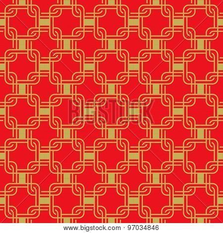 Seamless golden red Chinese style arranged in a crisscross square pattern.