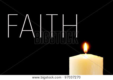 a lit candle and the word faith written in white on a black background