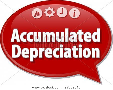 Speech bubble dialog illustration of business term saying Accumulated depreciation