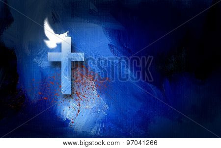 Christian salvation cross and doves