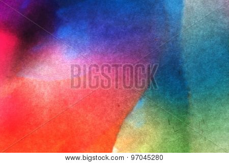 Shades of colored transparent plastic on white paper abstract. Artistic color shade background.