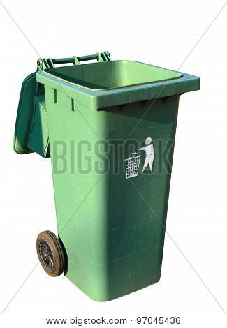 Green Plastic Recycle Bin Isolated On White With Clipping Path.