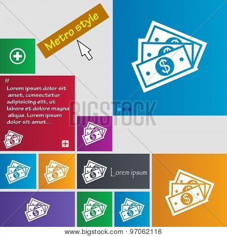 U.s Dollar Icon Sign. Buttons. Modern Interface Website Buttons With Cursor Pointer. Vector