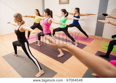 Warrior Pose In A Large Group